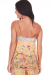 top back features adjustable straps with wider fit and pink, yellow & blue butterflies printed on yellow background