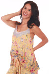 top side features mesh and lace lining at top neckline with wider fit and pink, yellow & blue butterflies printed on yellow background