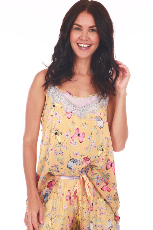 top front features mesh and lace lining at top neckline with wider fit and pink, yellow & blue butterflies printed on yellow background