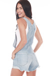 Back shows Light blue denim overall shorts with back pockets.  Shown paired with white short sleeve tank.