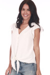 Front shows white short sleeve blouse M.Fredric Collection featuring a button down front with chiffon material, bottom tie and v shape check line. Shown worn with light blue jeans.