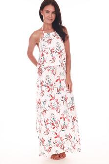 Halter Ruffle Top Maxi Dress