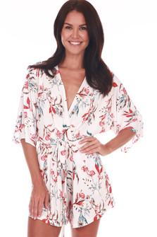 Kimono Sleeve Wrap Front Romper