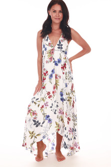 Floral Halter Tie Back Maxi Dress