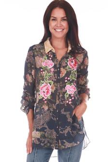 Plaid L/S Floral Button Up W/ Flower Applique