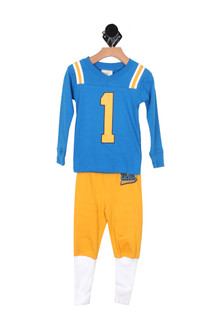 UCLA Football Pajama Set (Little/Big Kid) Blue shirt with yellow number 1 Yellow pants