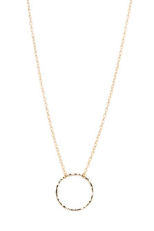Hammered Circle Pendant Necklace gold chain necklace with a hammered circle pendant for more detail contact toll free 855-597-0313