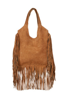Dreamcatcher Fringed Suede Shoulder Bag oblong suede bag with fringe on side and bottom dark tan for more detail contact toll free 855-597-0313