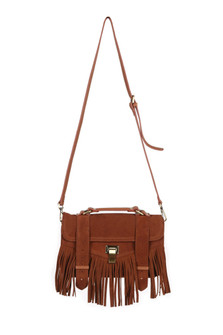 Fringed Suede Bag With Leather Strap & Handle long strap with fringe on the bottom Small bag with two belt buckle straps, silver clasp and a small handle on the top of the bag. for more detail contact toll free 855-597-0313