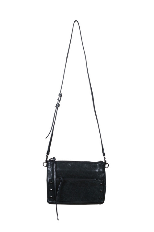 Warren Crossbody Bag w/ Gunmetal Hardware Zipper top, stud accents, small zipper pocket on front in black for more detail contact toll free 855-597-0313