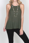 LA Nite Tank flare bottom tank in Dk Olive for more detail contact toll free 855-597-0313