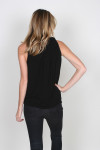 Draped Cowl Neck Halter Top in black slight draping from the shoulders
