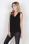 Draped Cowl Neck Halter Top in black drapey on the front
