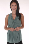 Draped Cowl Neck Halter Top in basil drapey on the front