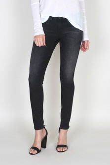 Super Skinny Ankle Legging Jean in 3yrs mineral wash which is a dark almost black distressed wash