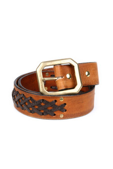Darcy Woven Leather & Brass Belt walnut color leather with drk leather criss cross design with a brass buckle for more detail contact toll free 855-597-0313