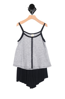 Striped Swing Cami & Short Set (Big Girl) solid black shorts with a fine line black & white stripe cami straps black with a detailed black stripe down the front. for more detail contact toll free 855-597-0313
