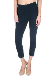 Denim Cuffed Cropped Legging w/ Zippers