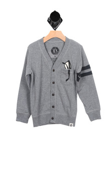 Biker Cardigan w/ Pocket (Big Boy) Button down cardigan with a print image of glasses looking like they are in the pocket. This is grey all over with two stripes on the left sleeve, black buttons and black print for more detail contact toll free 855-597-0313