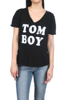 "Tom Boy V-Neck Tee Solid Black  tee with ""tom boy"" print on the front in white for more detail contact toll free 855-597-0313"