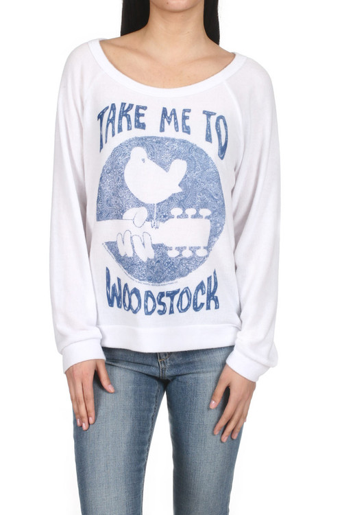 """Brenna Take Me To Woodstock Pullover Sweater White L/S sweater with blue print saying """"Take me to Woodstock"""" Picture of a bird on the end of a guitar for more detail contact toll free 855-597-0313"""