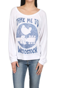 "Brenna Take Me To Woodstock Pullover Sweater White L/S sweater with blue print saying ""Take me to Woodstock"" Picture of a bird on the end of a guitar for more detail contact toll free 855-597-0313"