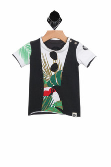 Tropical Summer Vest Tee (Infant-Toddler Boy) White tee shirt with print that looks like a vest over a tucan in the trees tee shirt and printed sunglasses on the color for more detail contact toll free 855-597-0313