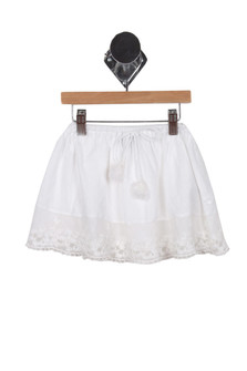 Lace & Linen Skirt (Toddler-Big Girl) White skirt with tie strings and lace trim on the bottom for more detail contact toll free 855-597-0313