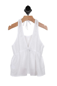 Linen Halter Tank Top (Toddler-Big Girl) Deep V with tucks in white for more detail contact toll free 855-597-0313