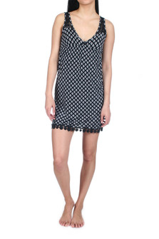 Ikat Dot Chemise w/ Sunflower Lace Trim and black pom poms in black