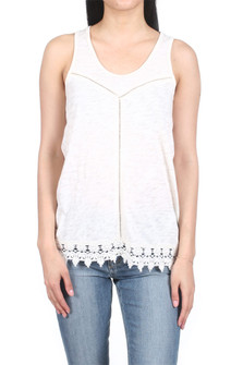 Washed Ashore Lace Trim Tank Top Natural color tank Lace trim on the bottom hem, little holes decorate the front in a Y shape from top to bottom. for more detail contact toll free 855-597-0313