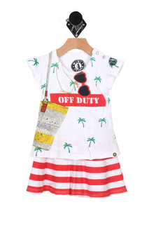 "Mermaid Off Duty T-Shirt Dress (Infant-Big Girl) Skirt of dress is red and white horizontal stripes the top is a print of palm trees, beach bag and sunglasses with a red ""off duty"" sign for more detail contact toll free 855-597-0313"