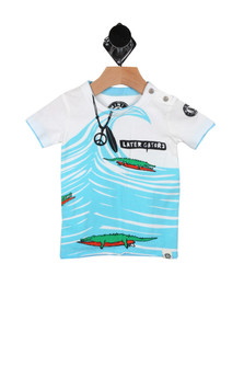 Later Gators Tee (Infant-Little Boy) a white shirt with a print of a blue ocean with a wave curl, a printed necklace with a peace sign and feather  and alligators on a surf board for more detail contact toll free 855-597-0313