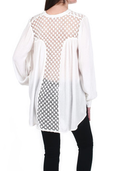 The Best Oversized Button-Up Blouse w/ Lace Back