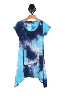 Tie-Dye S/S Mini Dress w/ Shark Bite Hem (Little-Big Girl)