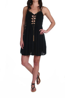 Vivid Lace-Up Mini Dress w/ Pleated Bodice In Black, spaghetti strap, pleated bodice than lace from top of Bodice to bottom of vneck. For more details contact toll free 855-597-0313