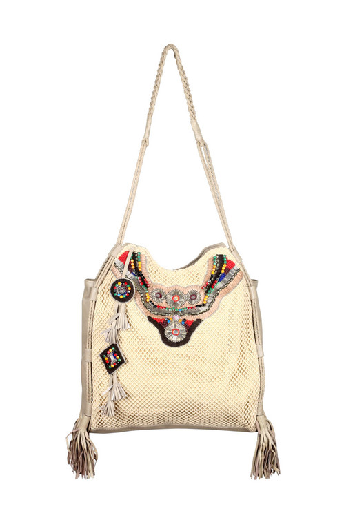 Netted Leather Tote w/ Woven Suede & Beadwork