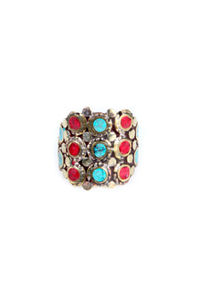 Geometric Coral & Turquoise Ring
