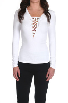 Ribbed Lace-Up L/S Top