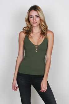 Crossfire Ribbed Cami w/ Criss-Cross V-Neckline