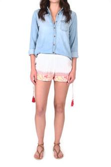 Floral Embroidered Short Shorts w/ Tasseled Side Details