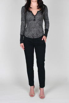 Davis Printed L/S Thermal Henley Top