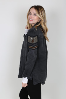 Military Shirt Jacket w/ Beaded Shoulder Patch