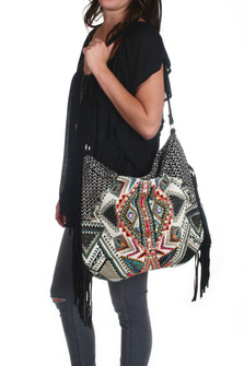 Mimi Beaded Tote Bag w/ Suede Strap & Fringe
