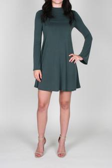 Bell Sleeve A-Line Shift Mini Dress w/ Mock Neckline