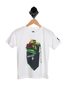 Rastaguana S/S Tee (Little-Big Boy) in White image is a multi color Iguana on top of a Kinsley speaker For more detail call toll free 855-597-0313