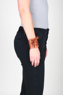 Adel Bordello Leather Cuff Bracelet w/ Lace-Up Detail
