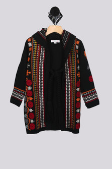 Long Embroidered Tapestry Coat w/ Hood (Big Girl)
