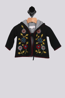Lotus Embroidered Flower Hoodie Sweater (Infant Girl)