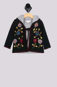 Lotus Embroidered Flower Hoodie Sweater (Toddler Girl/One Size)